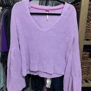 Purple free people bell sweater